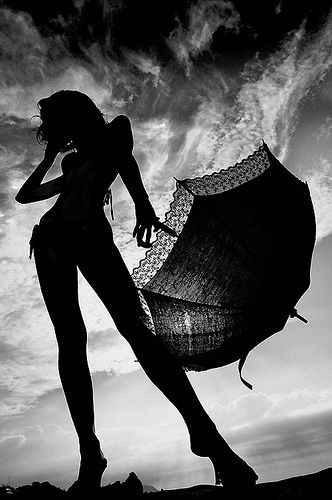 Girl, Umbrella, Sky