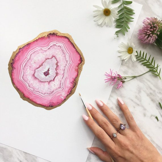 Ruby Agate Slice Painting Crystal Painting Gemstone by BirchBliss