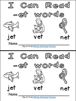 et Word Family Emergent Reader Kindergarten with Pocket