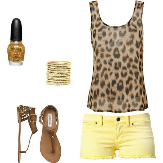 Summer time, yellow shorts! LOVE the leopard shirt!!!!!