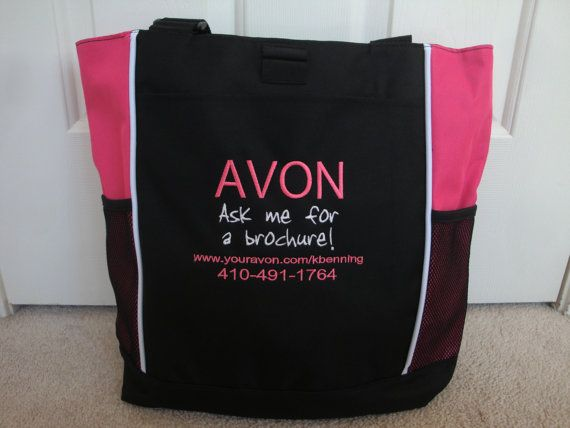 Tote Bag Custom Embroidered AVON Ask for Brochure with Your Website and Phone number Pink