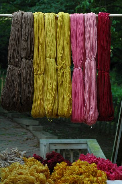 natural dyeing by Sheeps and Peeps Farm (from l. to r.): walnut hulls, dried marigold flowers, cochineal