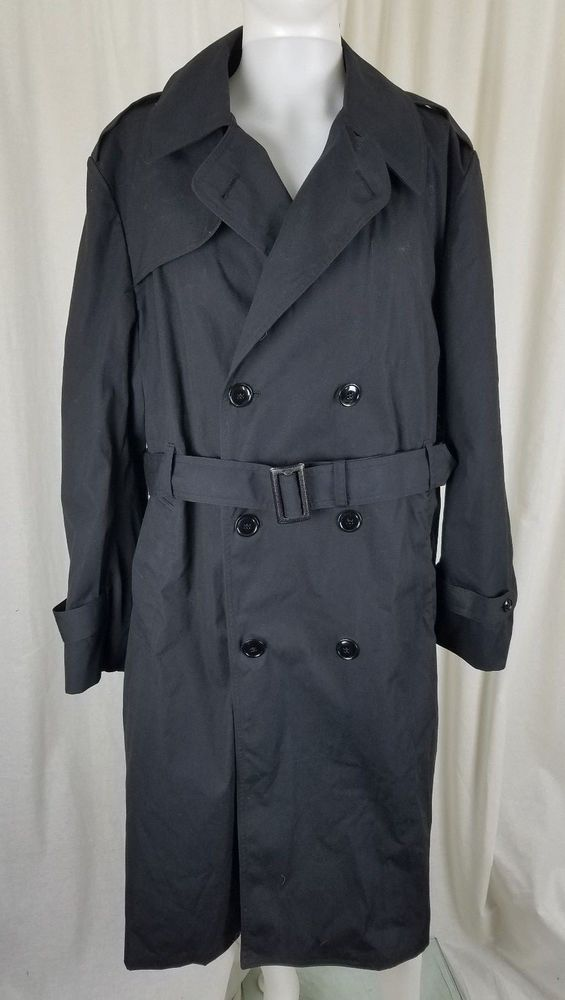 367c2433b2 American Apparel Military Issue Double Breasted Trench Coat Mens 46R Black  Army #AmericanApparel #Trench