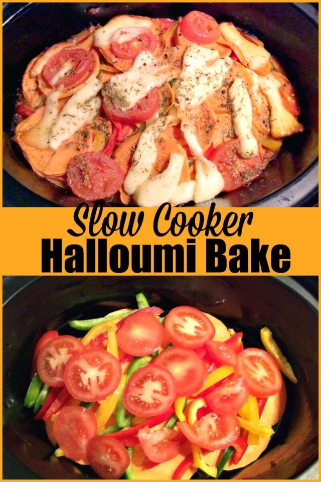 Slow Cooker Halloumi Bake A Vegetarian Slow Cooker Recipe