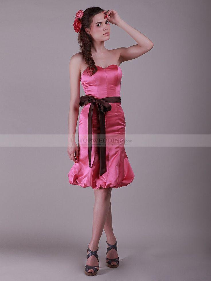 Sweetheart Mermaid Elastic Satin Bridesmaid Dress with Belt 0113990