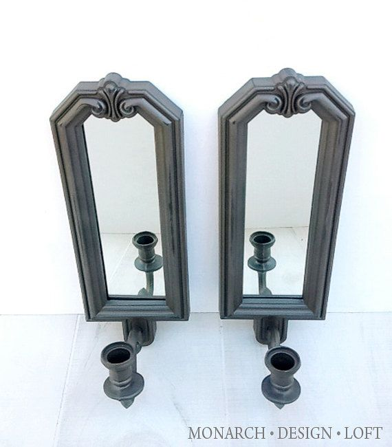 Mirrored candle sconce - Oil rubbed bronze - Vintage painted wall sconce Candle Sconces, Oil ...