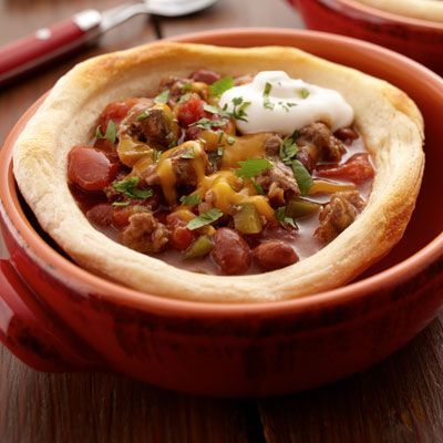 Beef Chili + Sour Cream And Cheddar Biscuits Recipe — Dishmaps