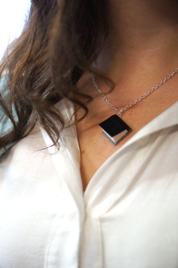 Vinyl Bound Black Miniature Book Necklace - Upcycled Book Jewellery - Cruelty Free / Animal Friendly https://www.etsy.com/nz/shop/ExLibrisJewellery