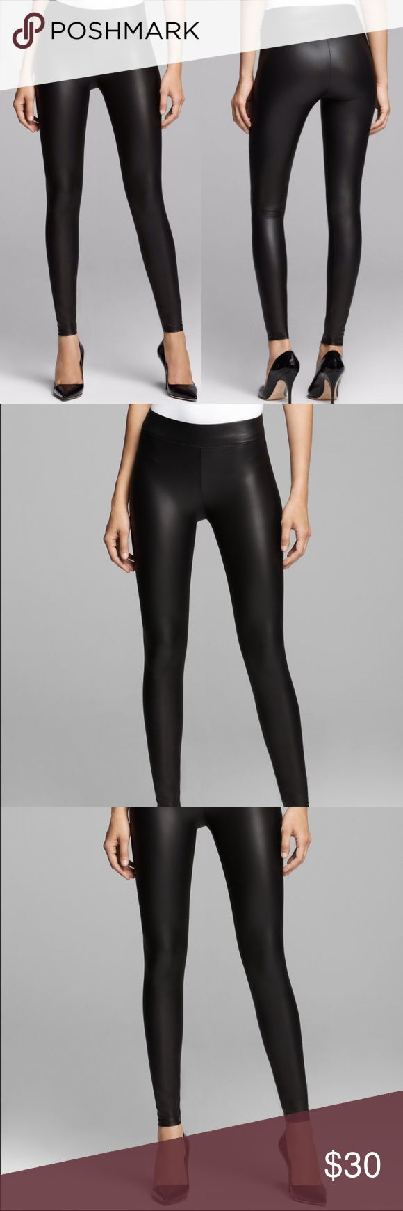 NWT Guess Matte Wet Leggings, Jet Black These leggings are to die for! I am in love with these leggings but sadly they were too small for me (if anyone has a small or medium let me know)!   Instantly give any look a rocker edge with these smooth faux-leather leggings.  They stretch and love with you, and wide elastic waistband provides a flattering fit. Guess Pants Leggings
