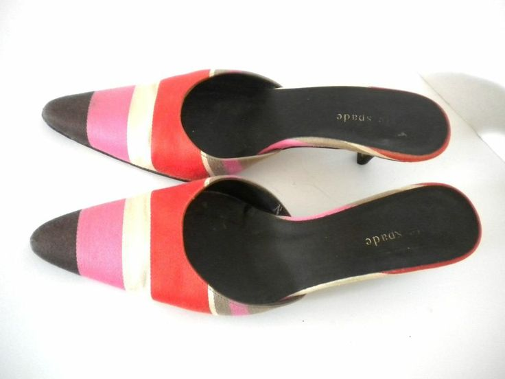 Kate Spade Stripe Kitten Heel Mules Pink Orange White Brown Stripe Size 5.5  - a bit worn, though pin-worthy as a nice color-blocking example; pink & red being one of my fave color pairings, too.