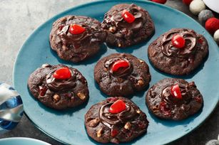 Cherry-Chocolate Volcano Cookies recipe - I'd like to try, replacing nuts with mini chocolate (white?) chips