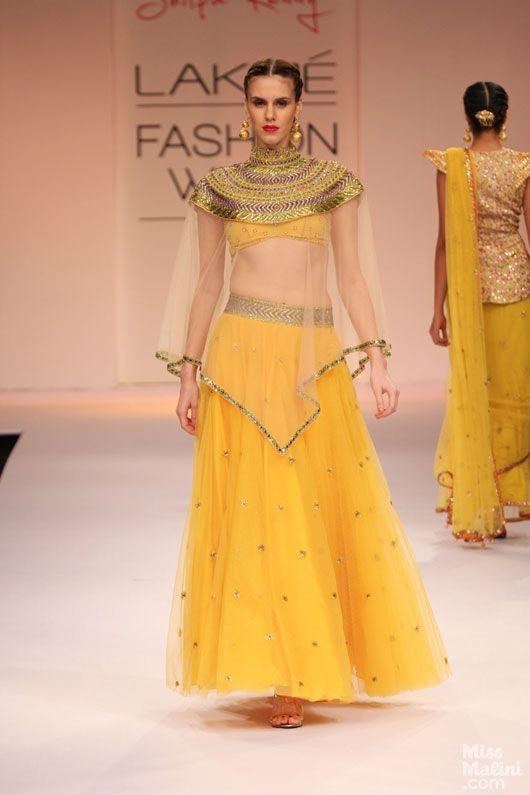 Yellow lengha by Shilpa Reddy, LFW 2013