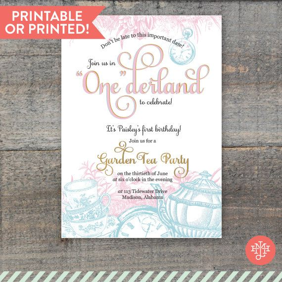 Alice In Wonderland First Birthday Party Invitations Printed OR