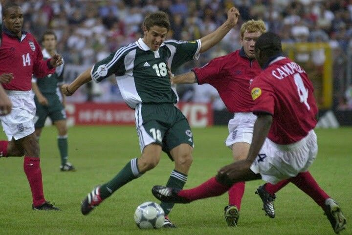 England 1 Germany 0 in 2000 in Charleroi. Sebastian Deisler shoots for goal in Group A at Euro 2000.