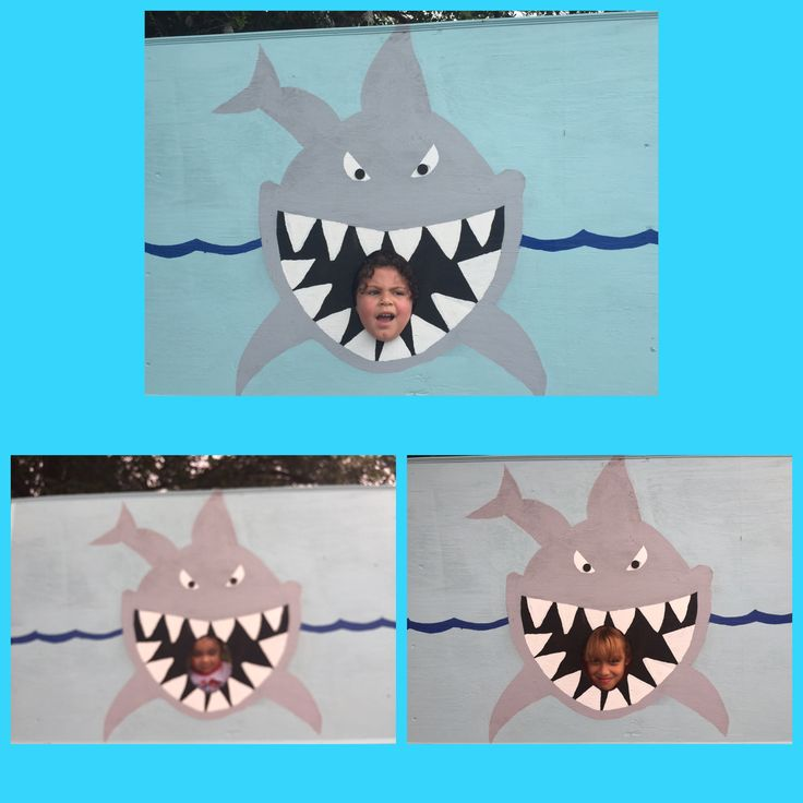 Shark attack photo booth prop! Shark birthday theme party!  Shark birthday party ideas and decor.