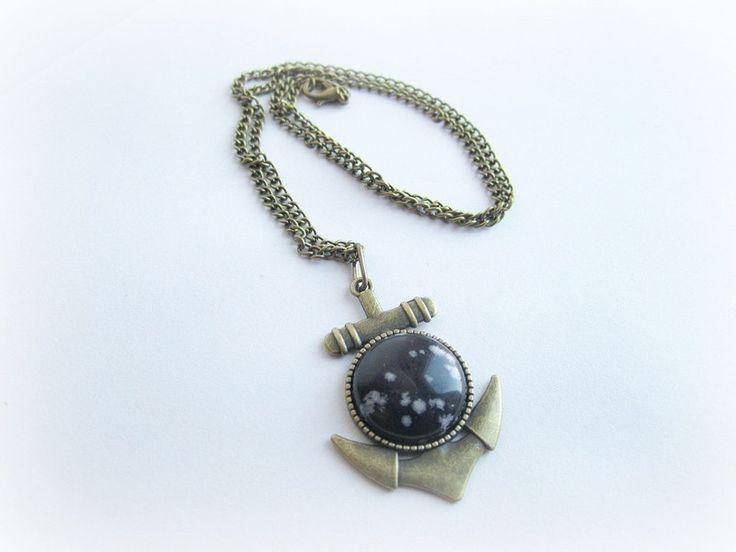Collana+uomo+con+ciondolo+ancora+pietra+ossidiana+di+BRAVE+men's+jewelry+su+DaWanda.com