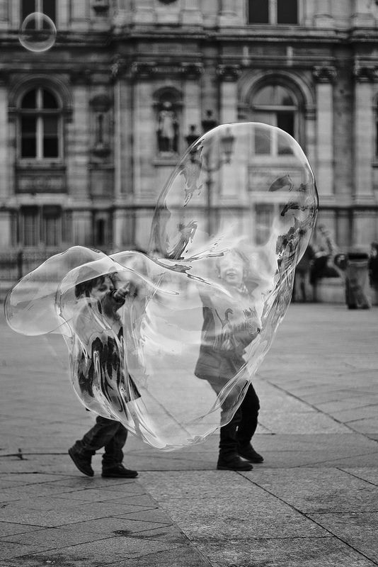 great shot with giant bubble ~ #photography, #blackandwhite