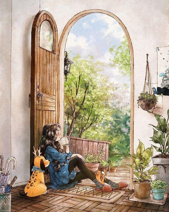 Korean Artist Aeppol Illustrates The Happiness Of Living Alone With A Dog Art Wallpaper Korean Artist Animation Art