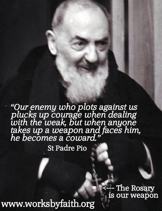 """St. Padre Pio - """"Our enemy who plots against us plucks up courage when dealing with the weak...."""""""