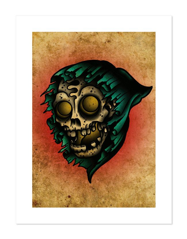 Reaper Neo-Traditional Tattoo Flash Art Print 12x16 by BlackMast