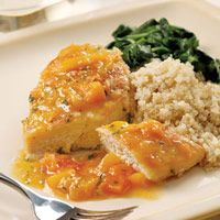 Well now I want this. Seared Chicken with Apricot Sauce... served with quinoa and sauteed spinach. #YUM