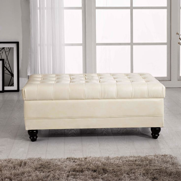 Luxury Comfort Classic Creamy White Tufted Storage Bench Ottoman Tufted Bench Solid Wood And