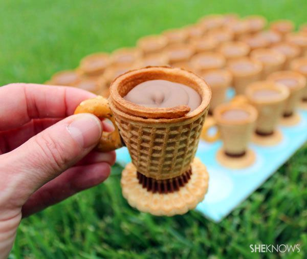 NO-BAKE, TEACUP TREATS Remember that scene in Willy Wonka and the Chocolate Factory where he drinks the tea and then eats the cup? Well, here's a step-by-step guide to making your own deliciously edible cup-and-saucers. The best part of making these sweet teacup cookies? No baking required!