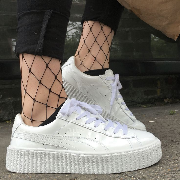 @ 'georgiagordon' on Instagram wearing her FENTY Puma's by Rihanna with fence net tights. Follow her @ georgiagordon on insta