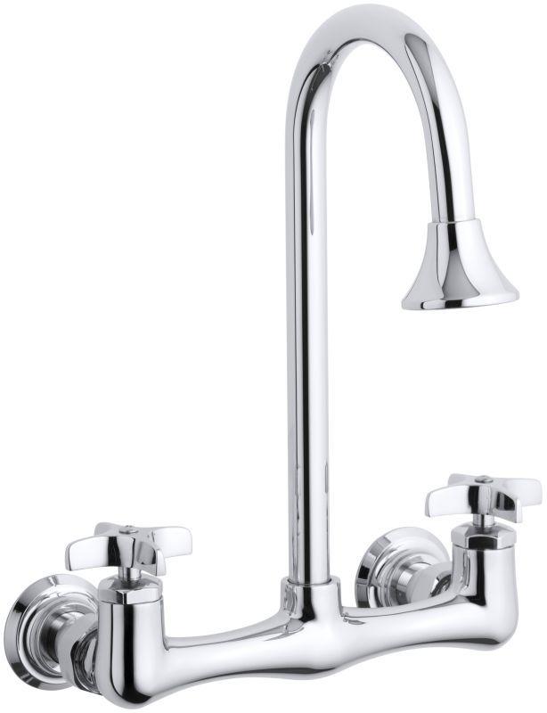 Kohler K-7319-3 Triton utility sink faucet with cross handles Polished Chrome Faucet Laundry Double Handle
