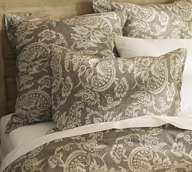 King Size Duvet Cover, 2 King shames, 2 Euro shams, 3 panels of curtains... all in their Gray color (as shown) -  Alessandra Floral Reversible Duvet #potterybarn.com