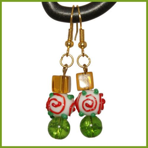 X'mas Ornament Earrings  Lampwork  Red Yellow by SamMadeWithLove, $14.00