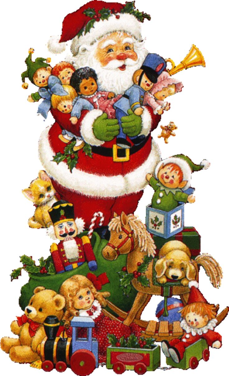 Santa with Christmas presents - toys and pets - by Ruth Morehead