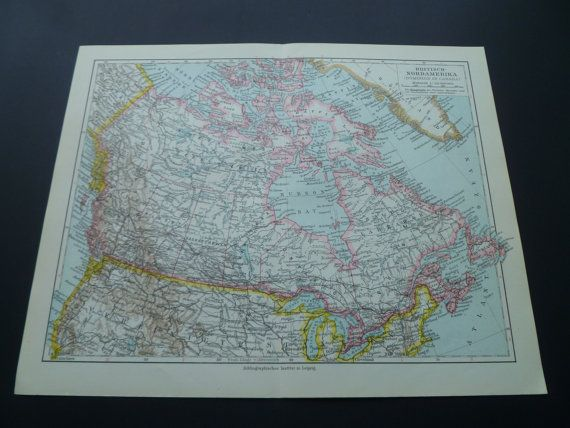CANADA old map of British North America 1926 by DecorativePrints