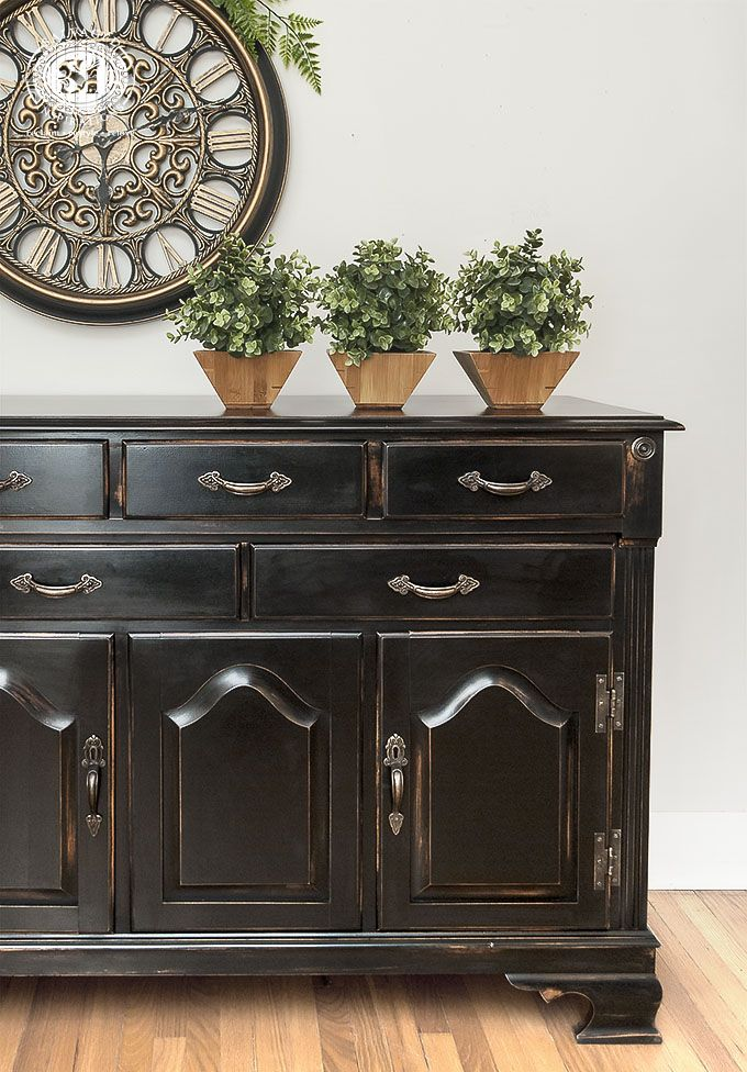 If you love the Black Pottery Barn Furniture as much as I do, here a tutorial on how to get the look in 5 easy steps! I used General Finishes Lamp Black and LOVE the results! |  Salvaged Inspirations