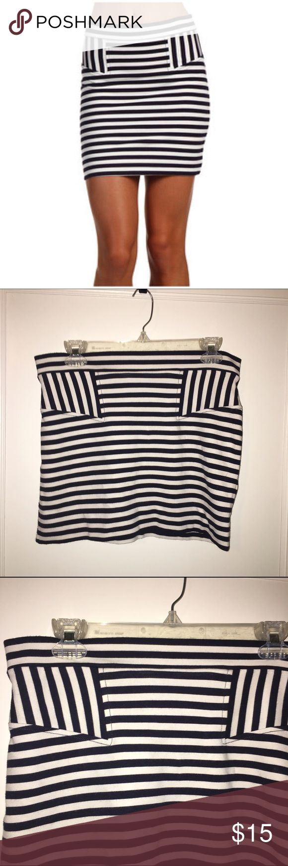 French Connection Promenade Stripe Skirt Cream and navy striped stretch skirt.  Size 10.  French Connection. Lovingly worn.  Looks good lots of life in it. French Connection Skirts Midi