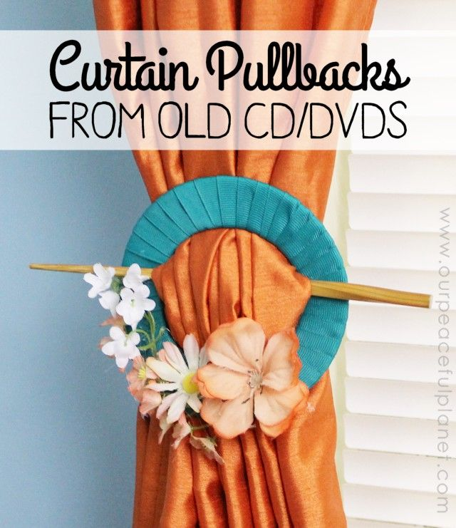 This is a spectacular upcycle project and uses old CD's or DVD's that you have laying around! With a little ribbon and some artificial flowers you can make curtain pullbacks to match any theme!