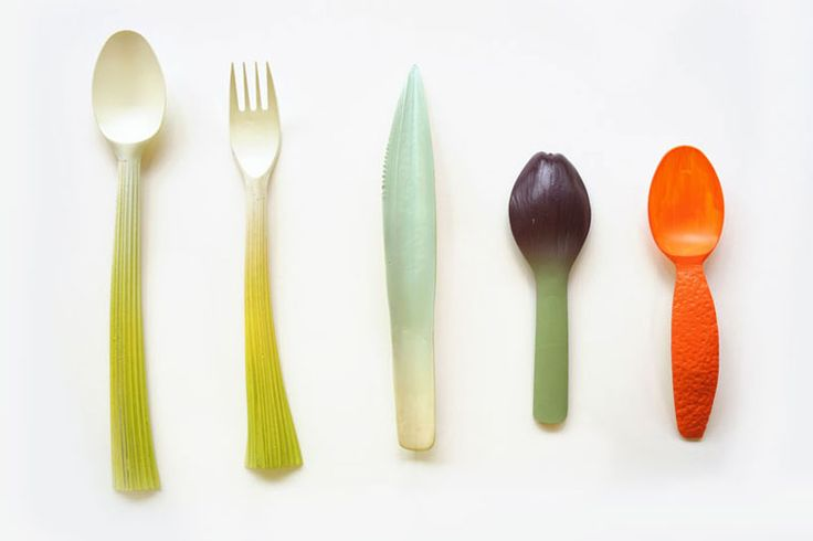 Chinese designer Qiyun Deng created a set of disposable tableware referencing the textured skins of fruits and vegetables.