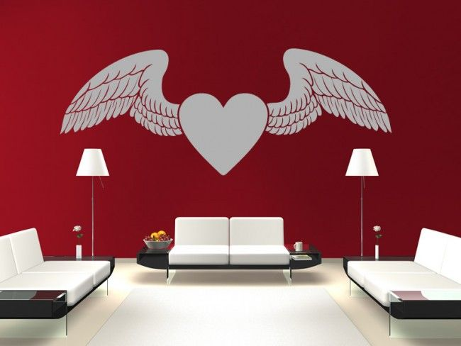 winged love heart wall stickers love wall art love hearts home u0026 living