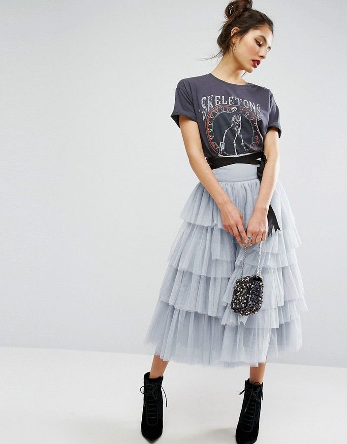 ae19713042 ASOS Tulle Midi Prom Skirt with Tiers and Tie Waist  55