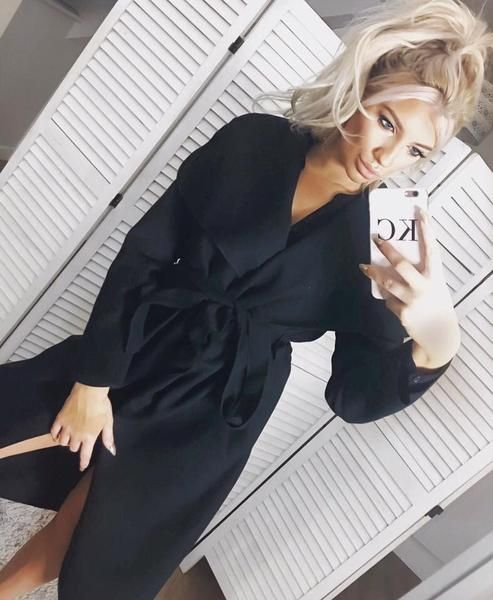Black Waterfall Coat with Belt & Pockets