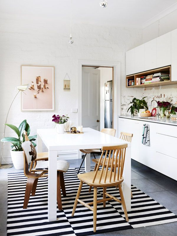 the design filesDining Rooms, Spaces, Dining Area, Black And White, Interiors, Diningroom, Stripes Rugs, Design File, White Kitchens