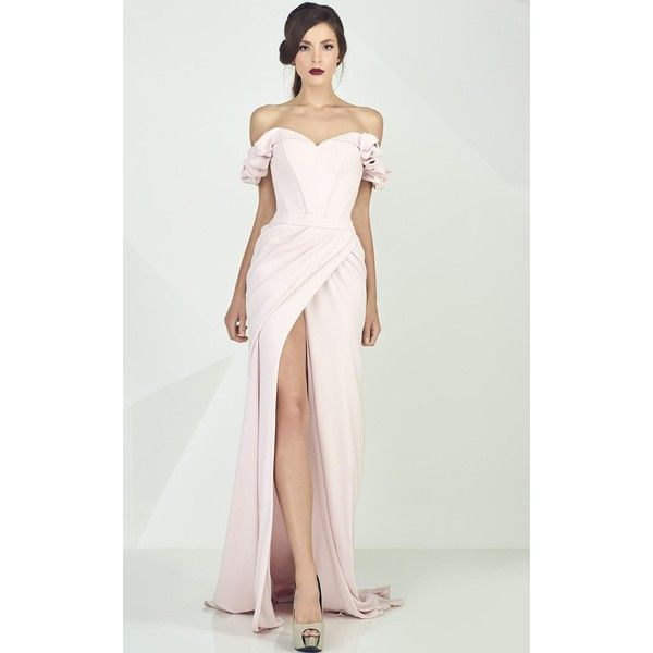 MNM Couture G0665 Formal Gown Long Strapless Short Sleeve ($1,100) ❤ liked on Polyvore featuring dresses, gowns, formal dresses, pink, evening gowns, off the shoulder evening gown, long evening gowns, pink evening dress and long sleeve evening dresses