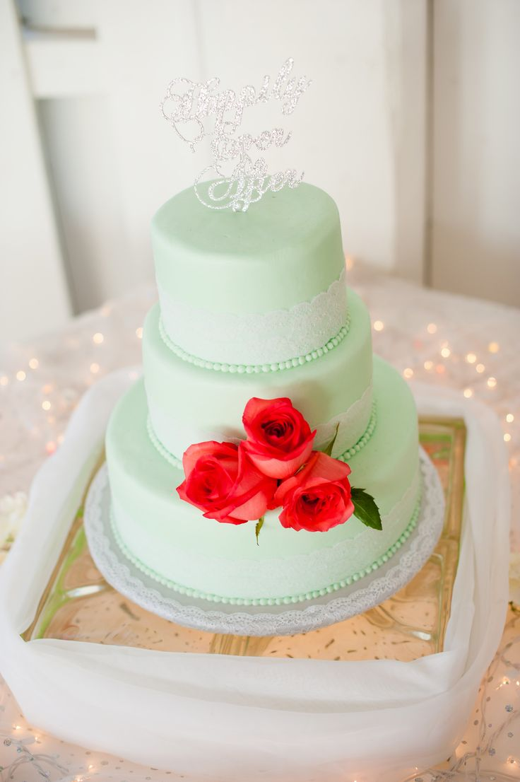 Mint Green Fondant Three Scarlet Roses And The Most Perfect Happily Ever After Wedding ShowersBridal ShowerPensacolaHappily