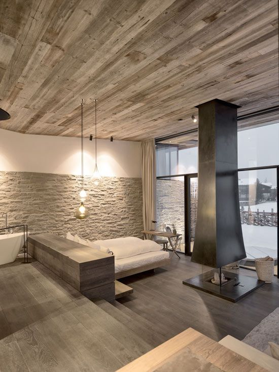 stone, wood + pendant lights | The Designer Pad