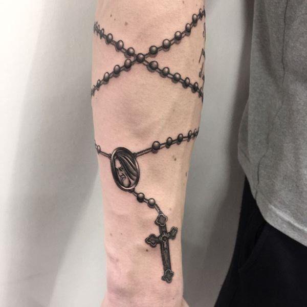 Rosary Tattoo On Forearm Rosary Tattoo Arm Rosary Tattoo Tattoos
