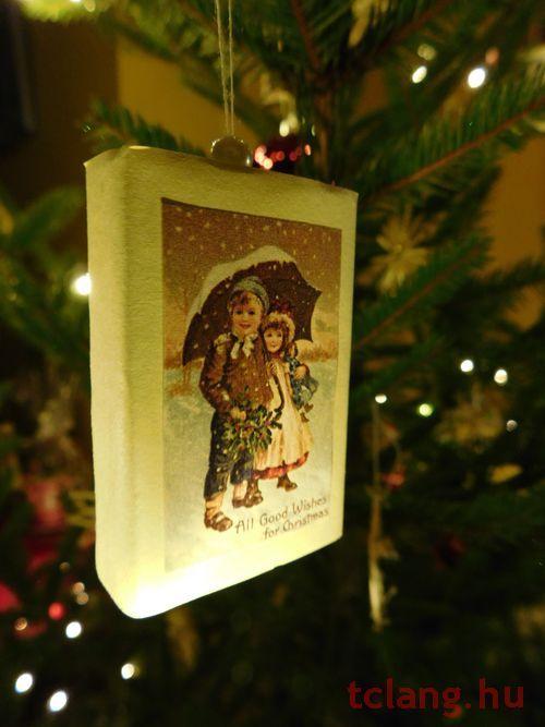 Karácsonyfadísz gyufás skatulyából