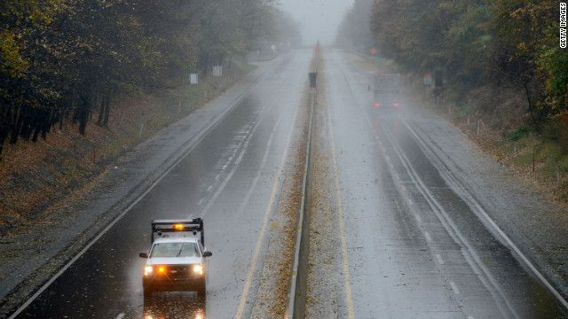 A Pennsylvania Department of Transportation truck slowly drives on the Pennsylvania Turnpike as Sandy approaches Bensalem, Pennsylvania, on Monday. From cnn.com