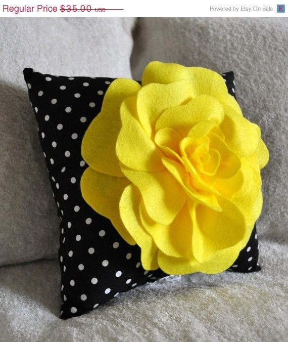 ALL ITEMS ARE MADE TO ORDER PLEASE SEE SHOP FOR CURRENT CREATION TIME!!! Large Bright Yellow Rose on Black with White Polka Dot Pillow. This Pillow is adorable! The Perfect touch for any room. Perfect