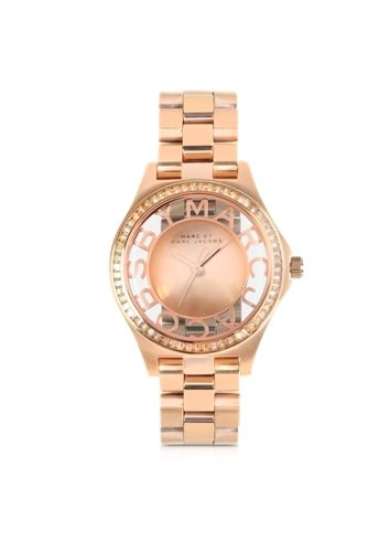 Marc by Marc Jacobs Henry Skeleton Glitz 34MM Rose Gold Tone Stainless Steel Women's Watch