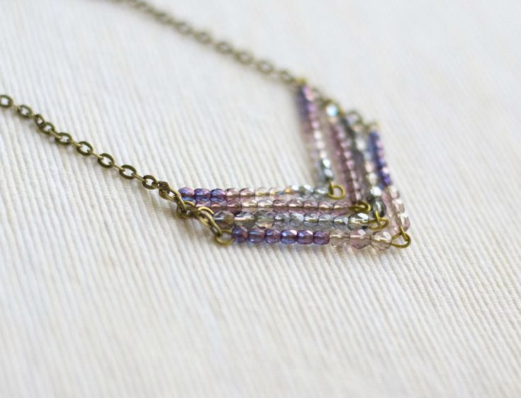 Beaded necklace long purple pink $37.00 This would be an easy DIY